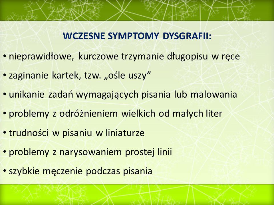 WCZESNE SYMPTOMY DYSGRAFII: