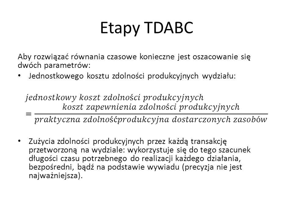 Etapy TDABC Aby rozwiązać równania czasowe konieczne jest oszacowanie się dwóch parametrów: Jednostkowego kosztu zdolności produkcyjnych wydziału: