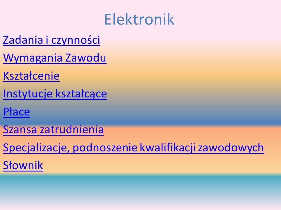 Elektronik Zadania i czynności Wymagania Zawodu Kształcenie