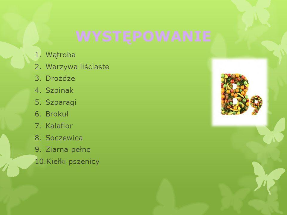 WYSTĘPOWANIE Wątroba Warzywa liściaste Drożdże Szpinak Szparagi Brokuł