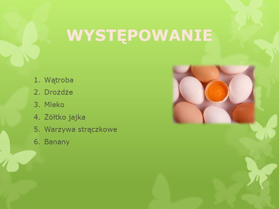 WYSTĘPOWANIE Wątroba Drożdże Mleko Żółtko jajka Warzywa strączkowe