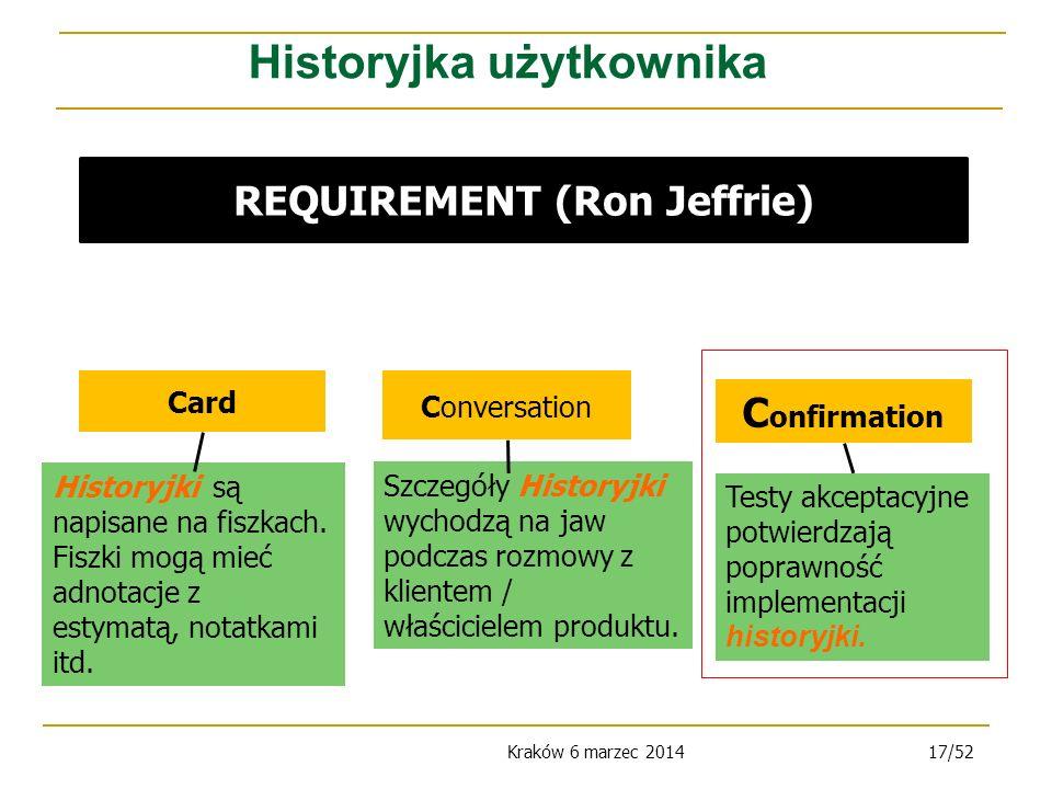 Historyjka użytkownika REQUIREMENT (Ron Jeffrie)