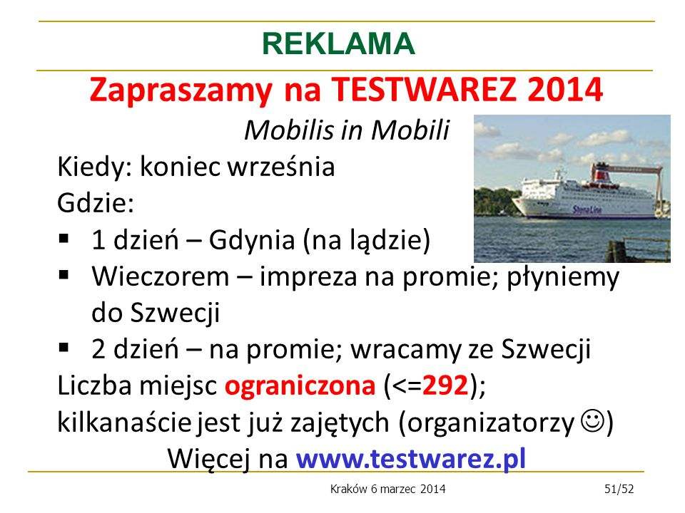 Zapraszamy na TESTWAREZ 2014