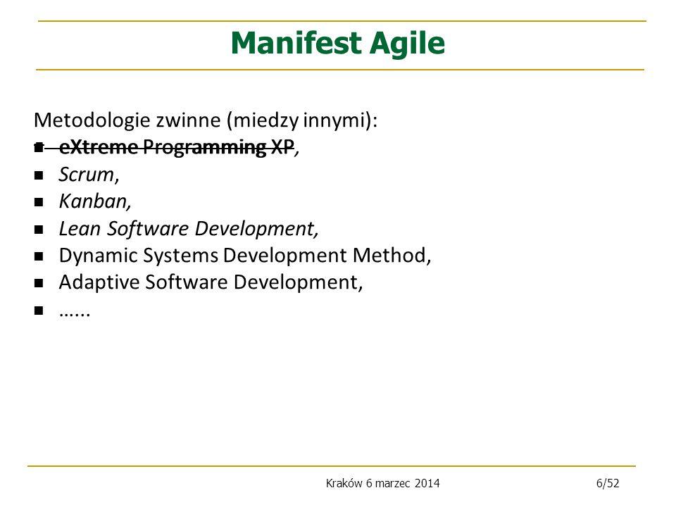 Manifest Agile Metodologie zwinne (miedzy innymi):
