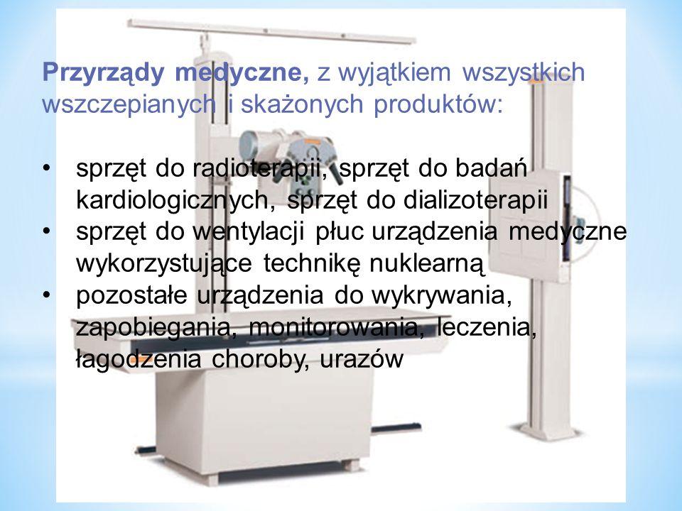 Przyrządy medyczne, z wyjątkiem wszystkich wszczepianych i skażonych produktów: