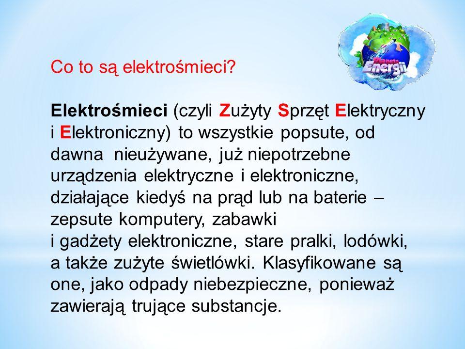 Co to są elektrośmieci Elektrośmieci (czyli Zużyty Sprzęt Elektryczny.