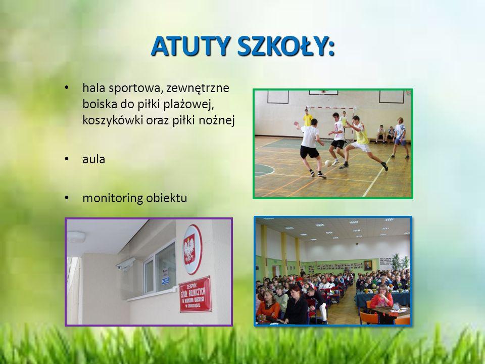ATUTY SZKOŁY: hala sportowa, zewnętrzne boiska do piłki plażowej, koszykówki oraz piłki nożnej. aula.
