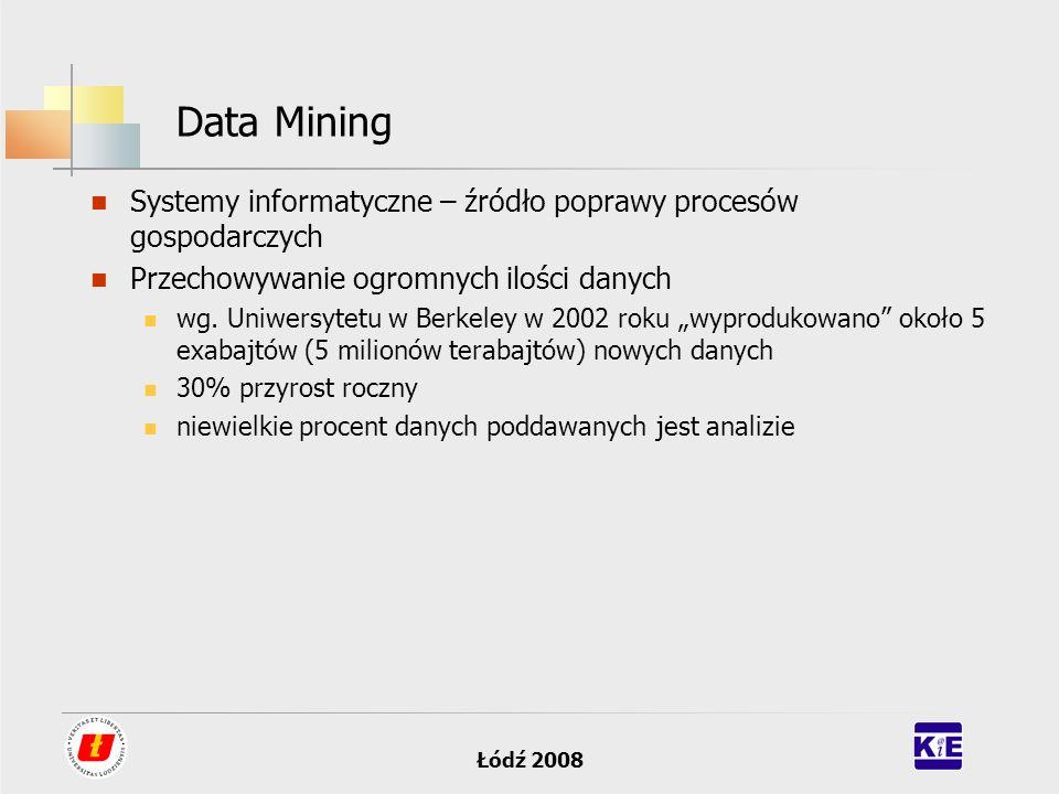 Data Mining Systemy informatyczne – źródło poprawy procesów gospodarczych. Przechowywanie ogromnych ilości danych.