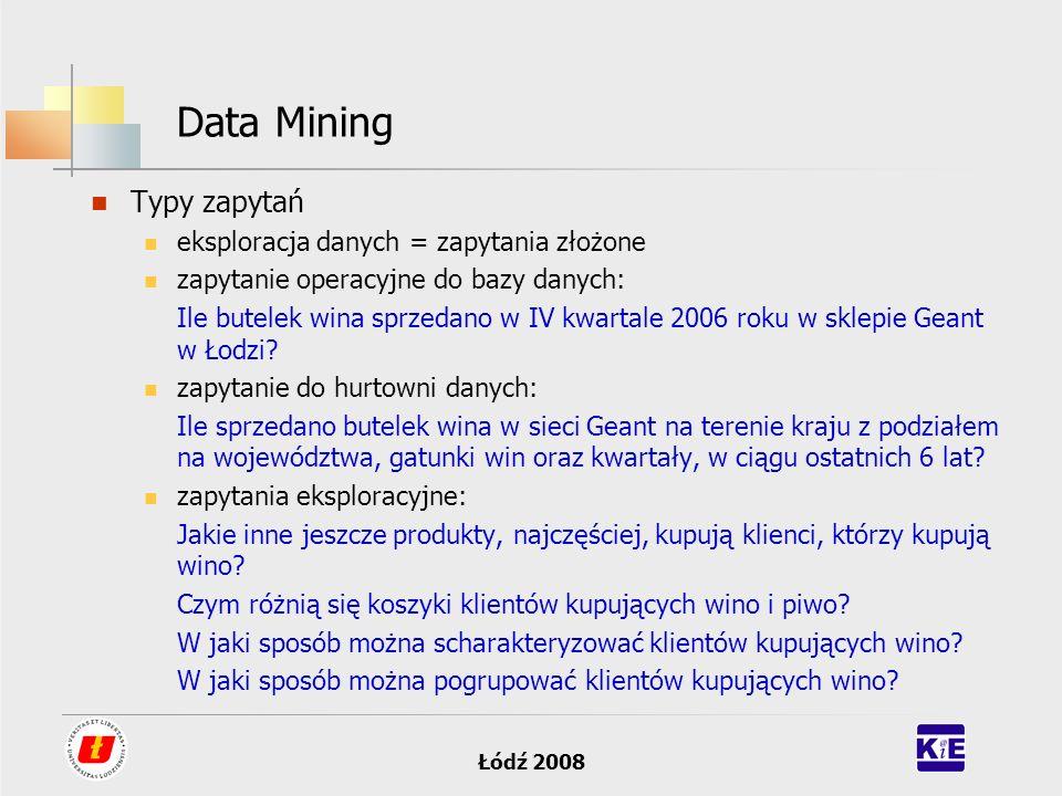 Data Mining Typy zapytań eksploracja danych = zapytania złożone