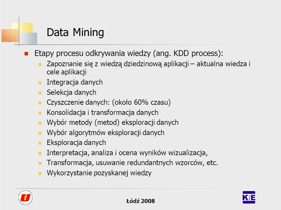Data Mining Etapy procesu odkrywania wiedzy (ang. KDD process):