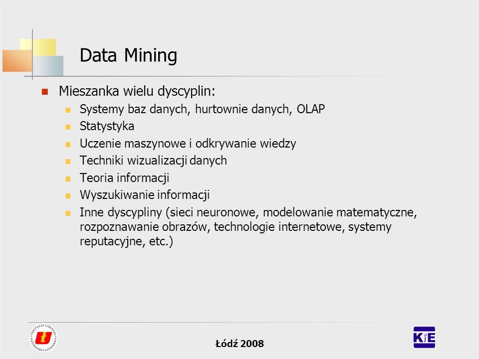 Data Mining Mieszanka wielu dyscyplin: