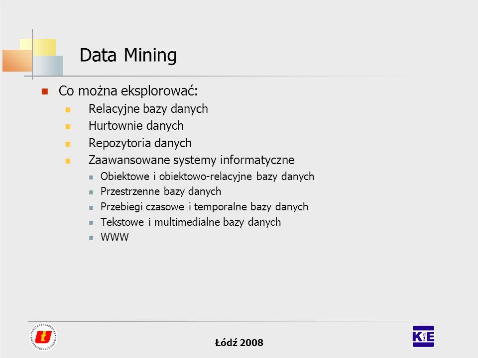 Data Mining Co można eksplorować: Relacyjne bazy danych