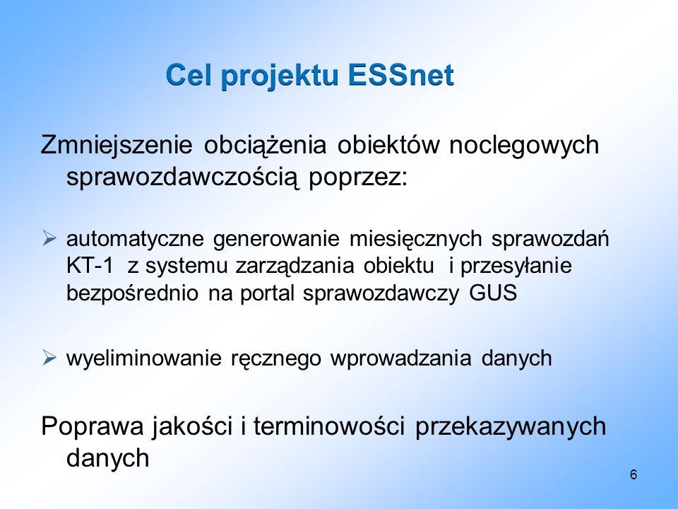 Cel projektu ESSnet Zmniejszenie obciążenia obiektów noclegowych sprawozdawczością poprzez: