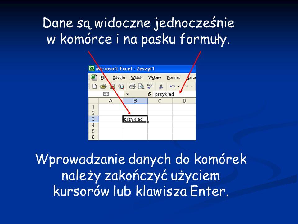 Dane są widoczne jednocześnie w komórce i na pasku formuły.