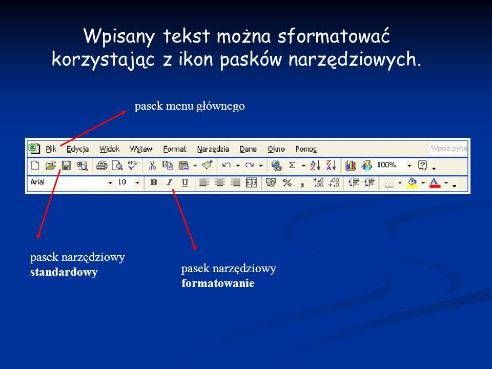 Wpisany tekst można sformatować korzystając z ikon pasków narzędziowych.