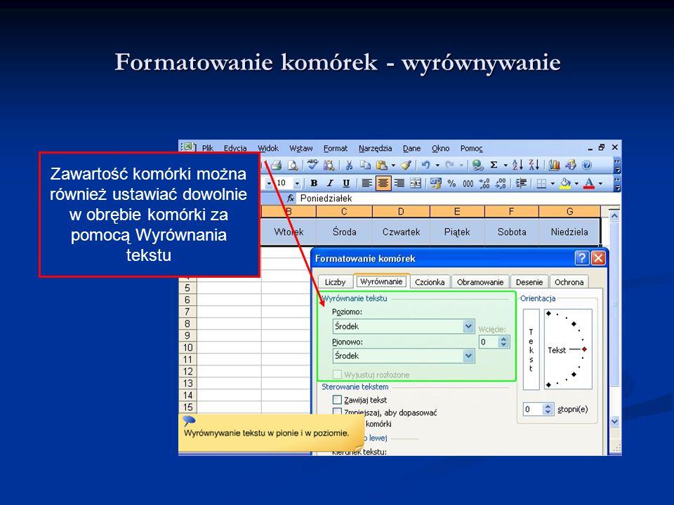Formatowanie komórek - wyrównywanie