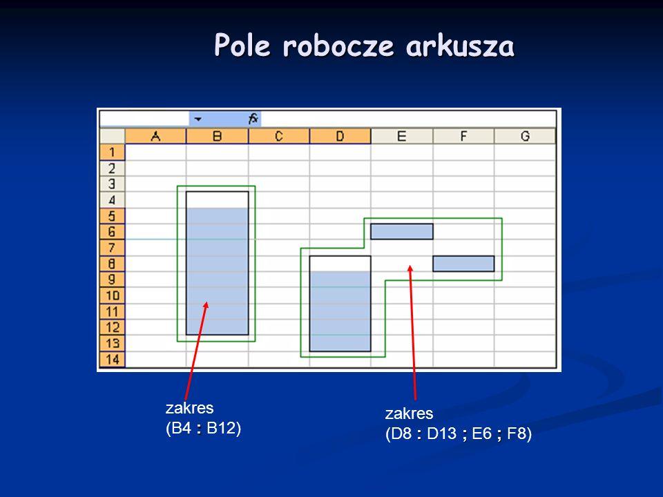 Pole robocze arkusza zakres (B4 : B12) zakres (D8 : D13 ; E6 ; F8)