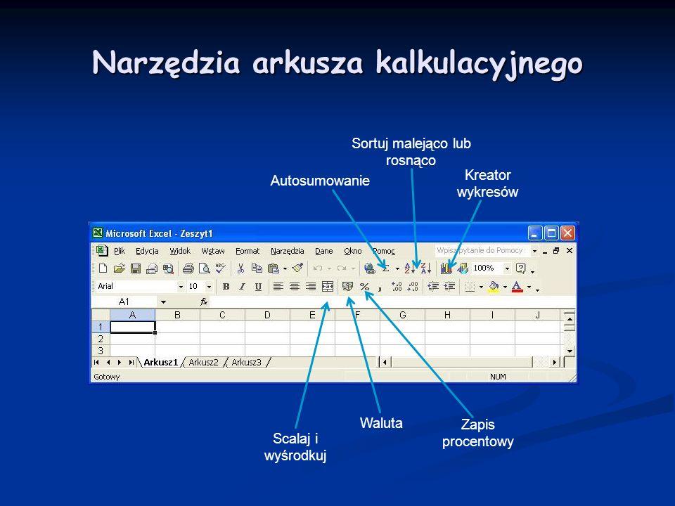 Narzędzia arkusza kalkulacyjnego