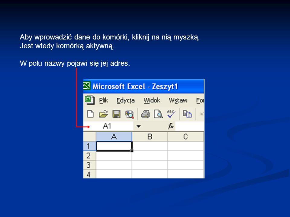 Aby wprowadzić dane do komórki, kliknij na nią myszką.