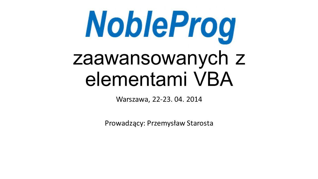 Excel dla zaawansowanych z elementami VBA