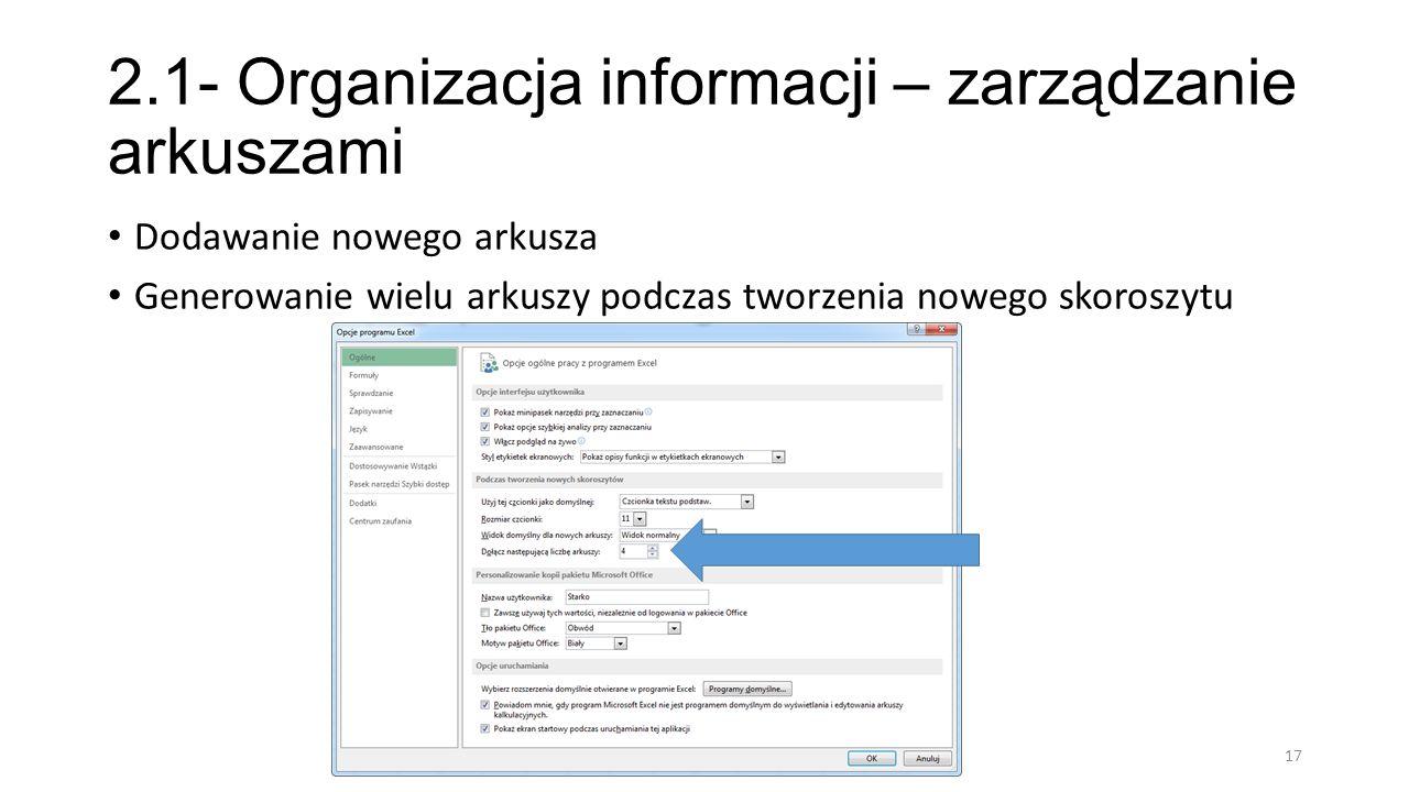 2.1- Organizacja informacji – zarządzanie arkuszami