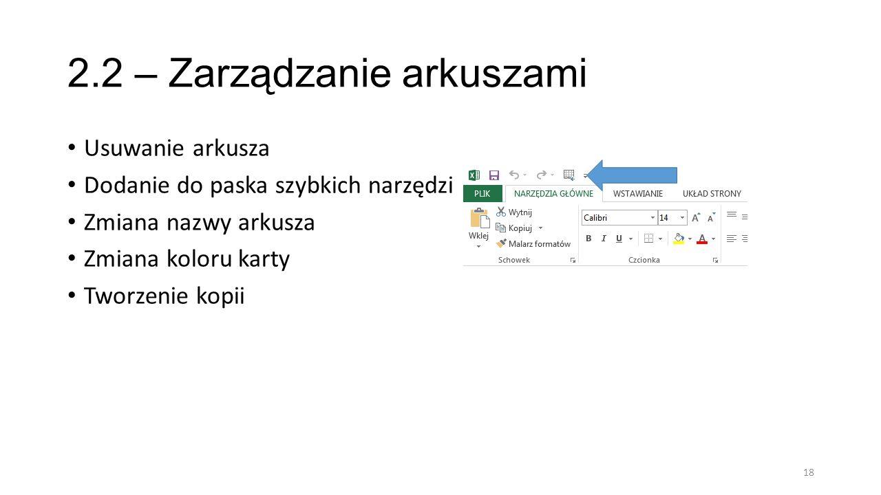 2.2 – Zarządzanie arkuszami
