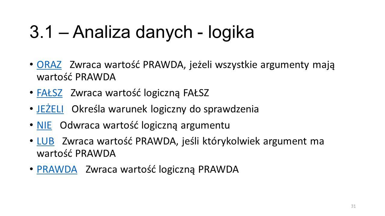 3.1 – Analiza danych - logika