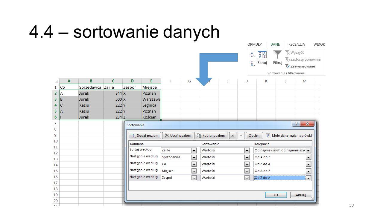4.4 – sortowanie danych