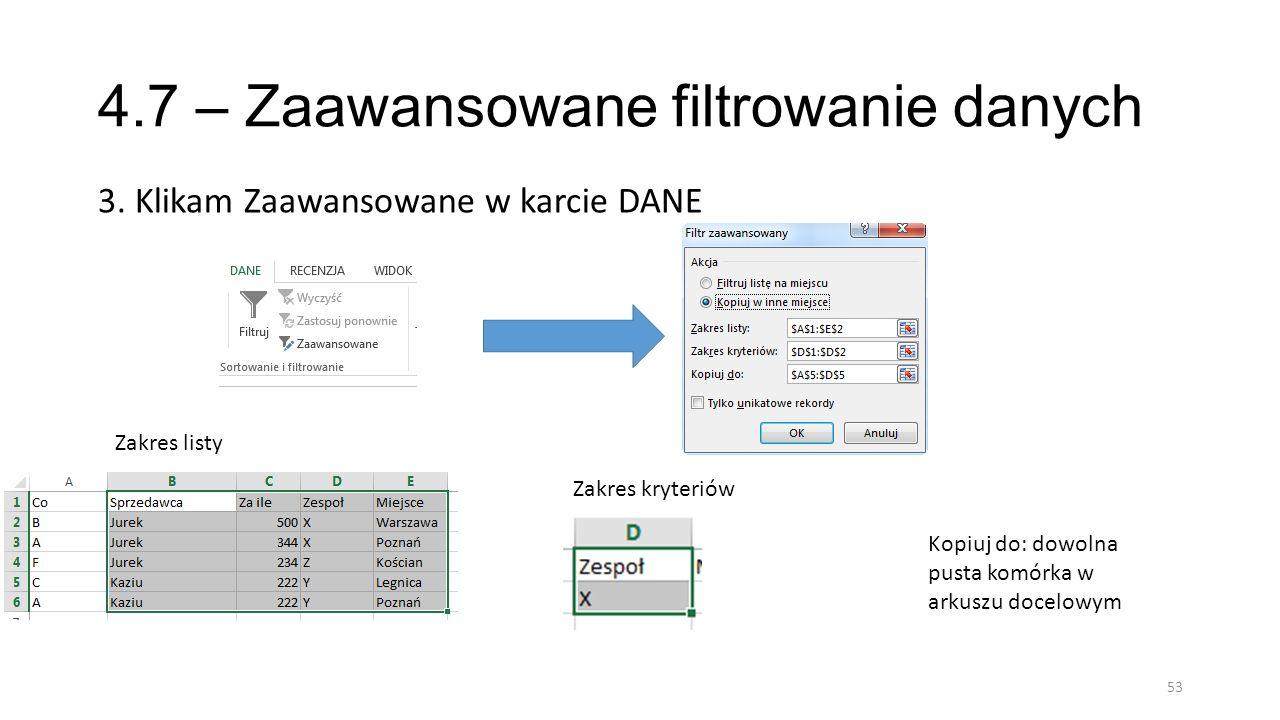 4.7 – Zaawansowane filtrowanie danych