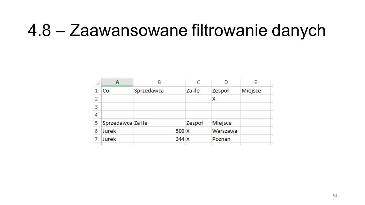 4.8 – Zaawansowane filtrowanie danych