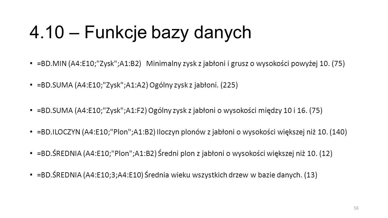 4.10 – Funkcje bazy danych =BD.MIN (A4:E10; Zysk ;A1:B2) Minimalny zysk z jabłoni i grusz o wysokości powyżej 10. (75)