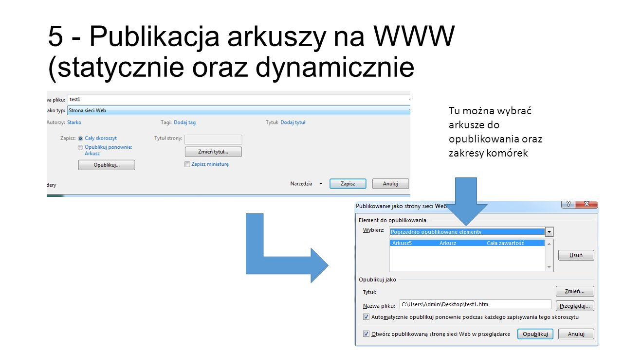 5 - Publikacja arkuszy na WWW (statycznie oraz dynamicznie