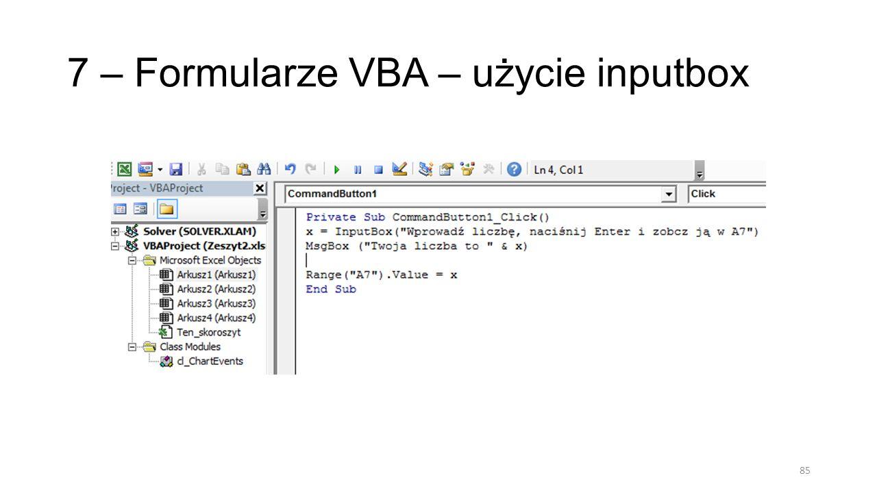 7 – Formularze VBA – użycie inputbox