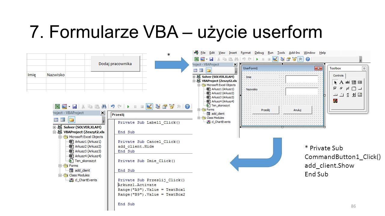 7. Formularze VBA – użycie userform