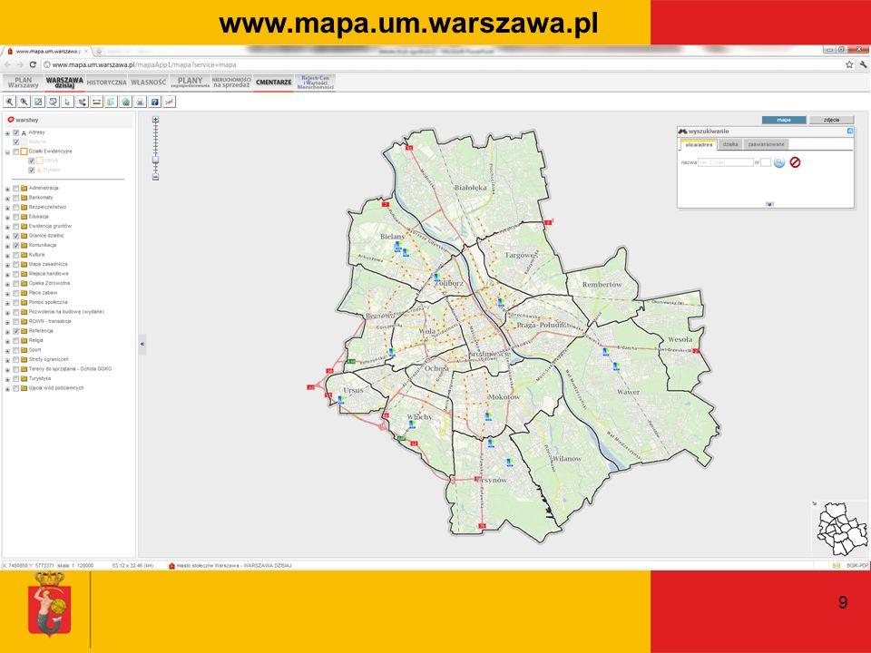 www.mapa.um.warszawa.pl Zapraszamy do korzystania z serwisu um.warszawa.pl. Zalety w porównaniu do innych serwisów: