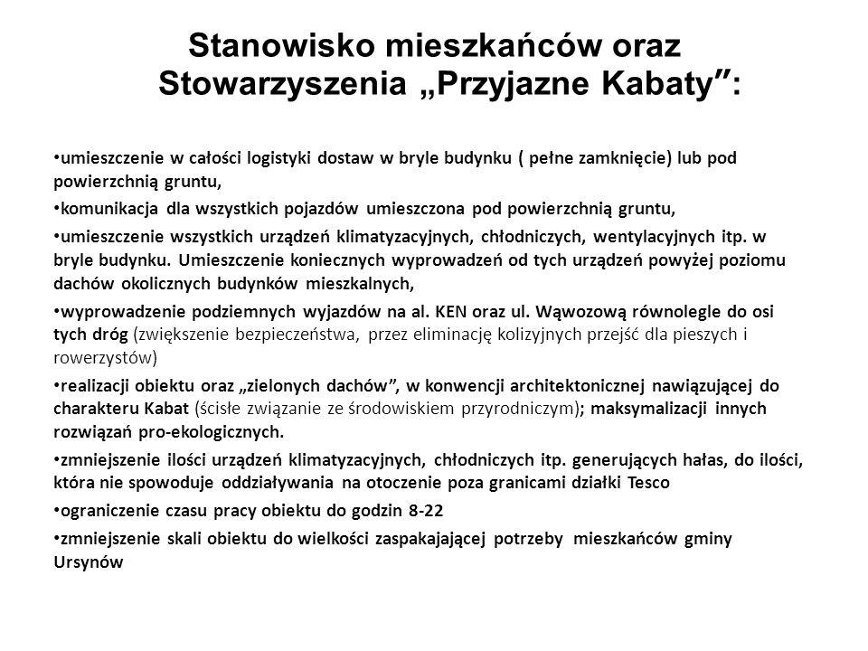 """Stanowisko mieszkańców oraz Stowarzyszenia """"Przyjazne Kabaty :"""