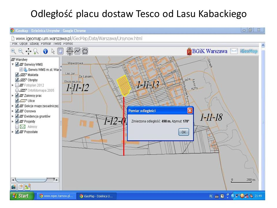 Odległość placu dostaw Tesco od Lasu Kabackiego