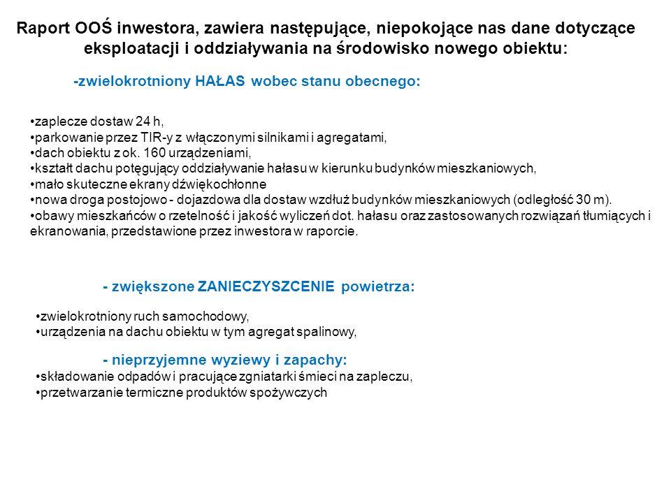 Raport OOŚ inwestora, zawiera następujące, niepokojące nas dane dotyczące eksploatacji i oddziaływania na środowisko nowego obiektu: