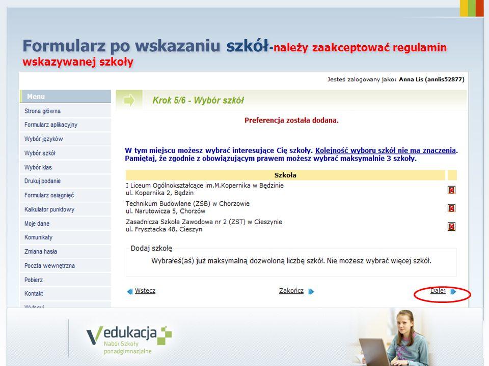 Formularz po wskazaniu szkół-należy zaakceptować regulamin wskazywanej szkoły