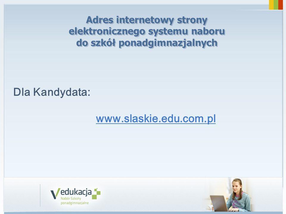 Dla Kandydata: www.slaskie.edu.com.pl