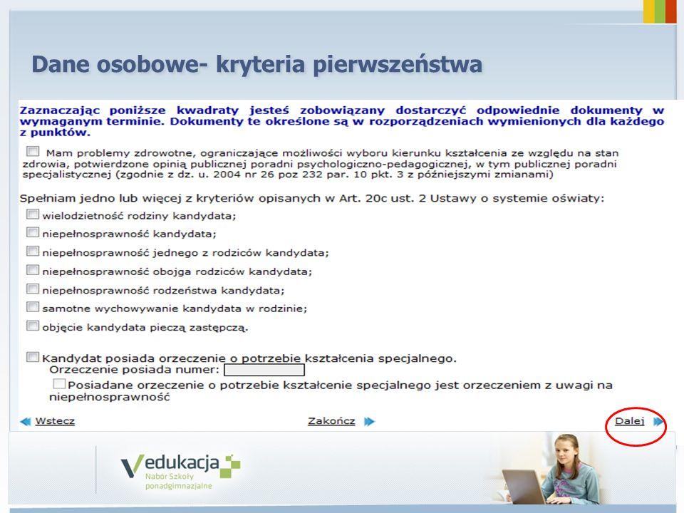 Dane osobowe- kryteria pierwszeństwa