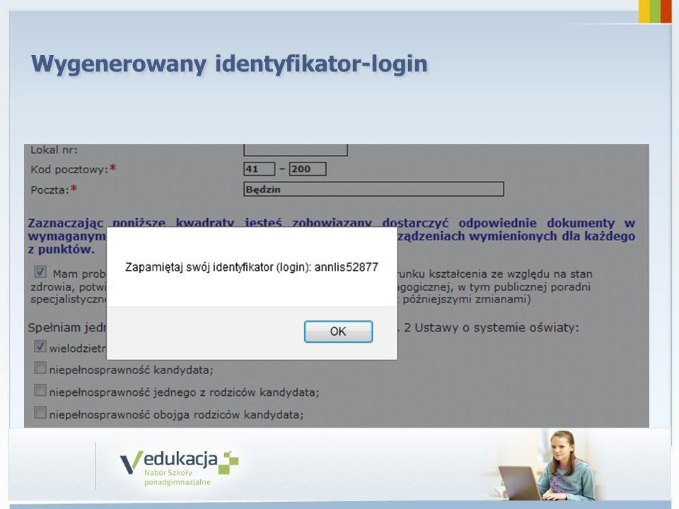 Wygenerowany identyfikator-login