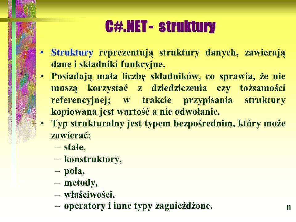C#.NET - struktury Struktury reprezentują struktury danych, zawierają dane i składniki funkcyjne.