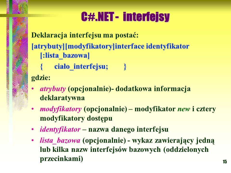 C#.NET - interfejsy Deklaracja interfejsu ma postać: