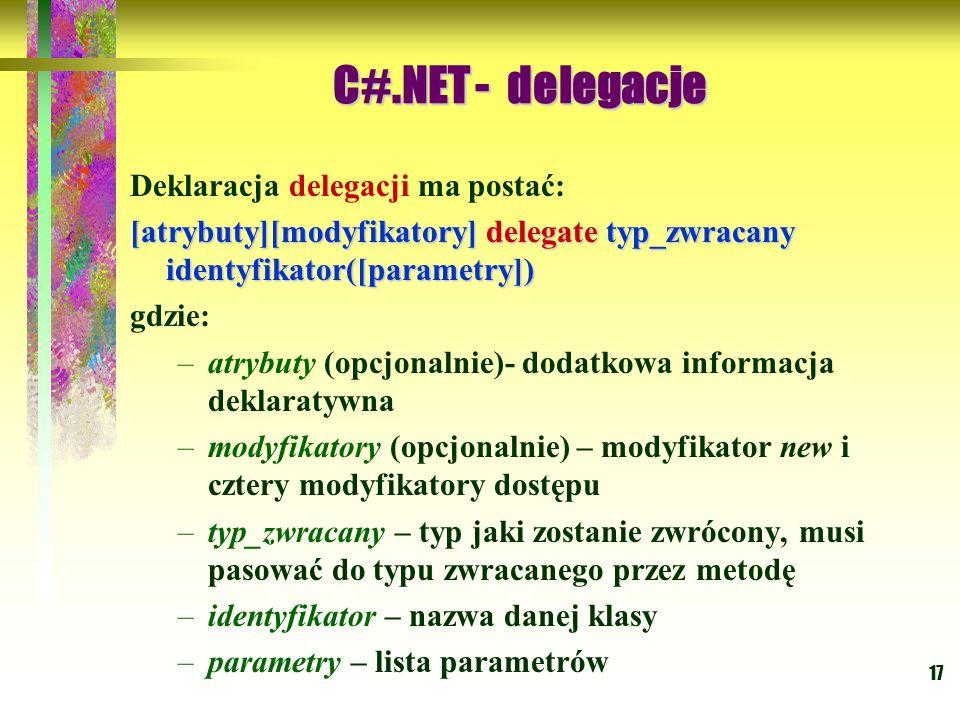 C#.NET - delegacje Deklaracja delegacji ma postać:
