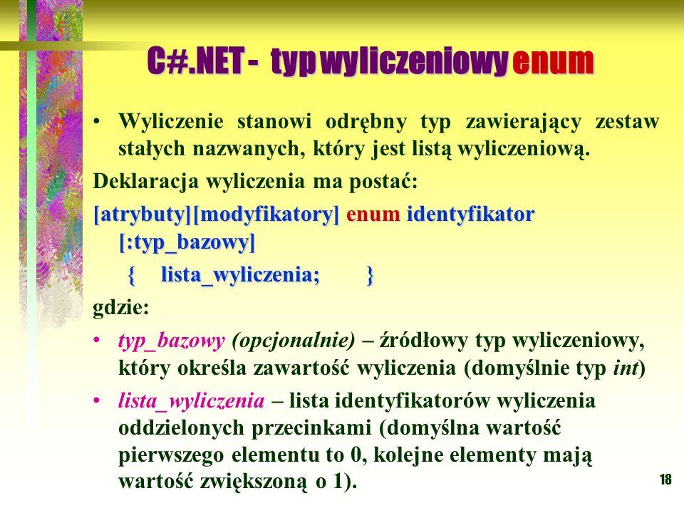 C#.NET - typ wyliczeniowy enum