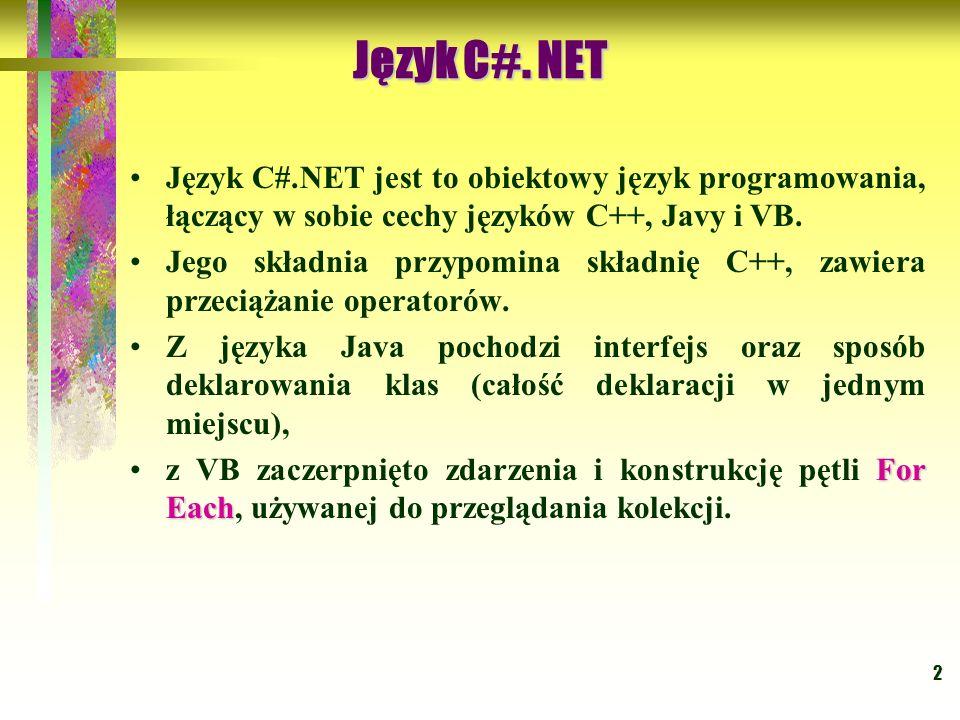 Język C#. NET Język C#.NET jest to obiektowy język programowania, łączący w sobie cechy języków C++, Javy i VB.