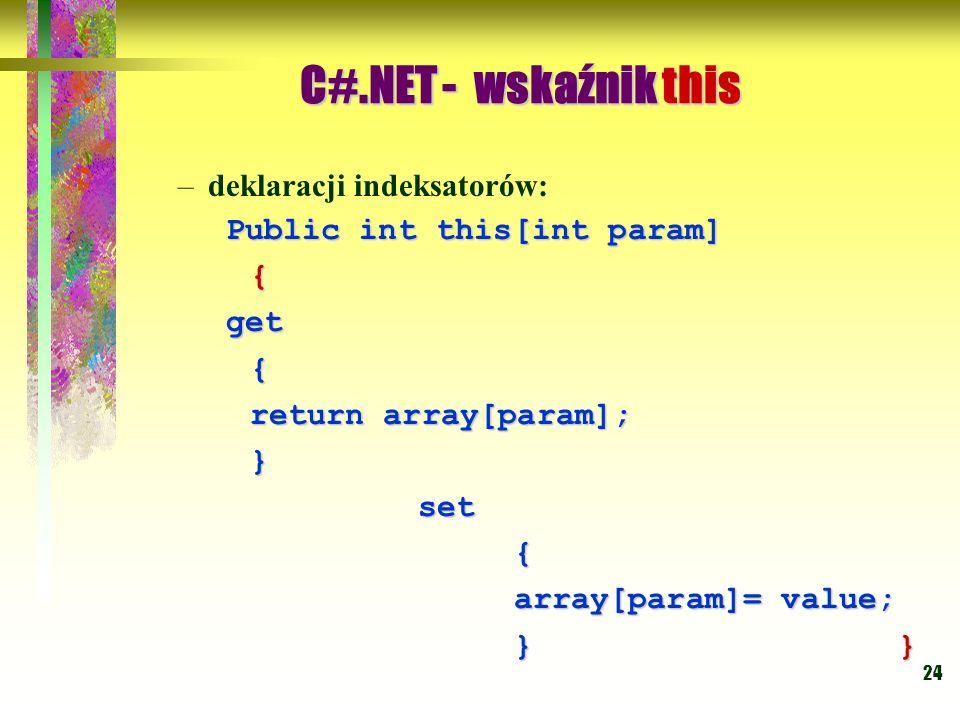 C#.NET - wskaźnik this deklaracji indeksatorów: