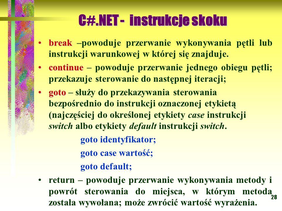 C#.NET - instrukcje skoku