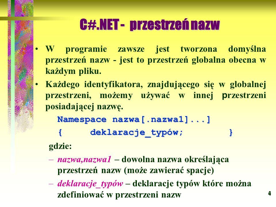C#.NET - przestrzeń nazw